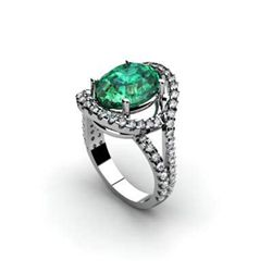 Emerald 4.87 ctw & Diamond Ring 18kt W/Y  Gold