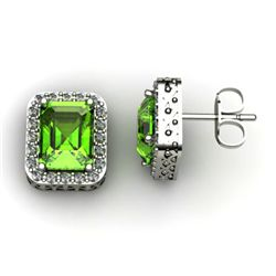 Genuine 3.70 Xctw Peridot Diamond Earring 14k W/Y Gold