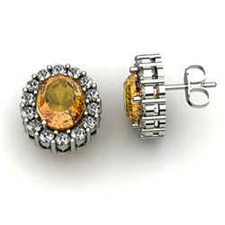 Genuine 3.04 ctw Citrine Diamond Earring 14k W/Y Gold