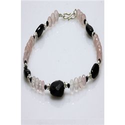 Natural 90.00ct Blackonex,Semi Precious Bracelet .925 S