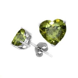 Natural 2.10 ctw Peridot Heart Earrings .925 Sterling