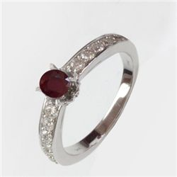 Natural 1.98 ct 3.51g Ruby & Diamond 14k WG Ring