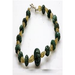 Natural 752.15ct Emerald,Semi Precious Bracelet .925 St