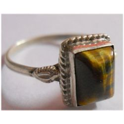 Natural 11.60 ctw Tiger Eye Square Ring .925 Sterling S