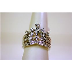 Lady's Antique Style Sterling Silver White Sapphire Ring