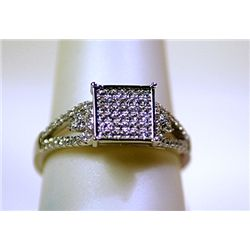 Lady's Fancy Sterling Silver White Sapphire Ring