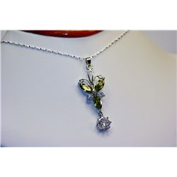 Lady's Fancy Sterling Peridot &amp; White Sapphire Necklace