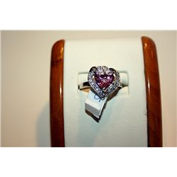 Lady's Fancy 14 kt White Gold Heart Shape Pink Sapphire & Diamond Ring