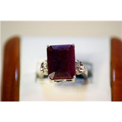 Lady's Fancy Silver Emerald Cut Pigeon Blood Ruby Ring