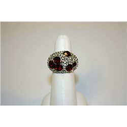 Lady's Fancy Sterling Garnet &amp; White Sapphire Ring