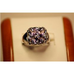 Unisex Fancy Style 14kt White Gold Amethyst Ring