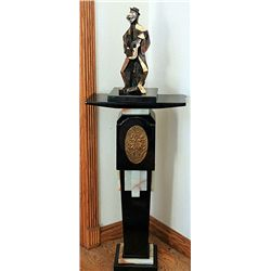 Picasso Gold Bronze Sculpture - Man With Guitar with Pedestal