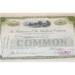 The Baltimore and Ohio Railroad Co. Stock Certificate Dated 1929