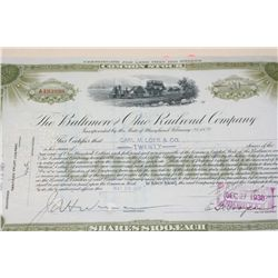 The Baltimore and Ohio Railroad Co. Stock Certificate Dated 1937