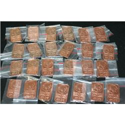 2012 Copper Ingot; .999 Fine Copper 1 Oz., Lot of 25