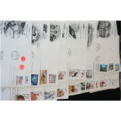 First Day Issue Postal Stamp W/Envelope; Various Dates, People & Events; Lot of 30