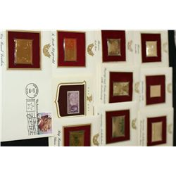 22K Gold Replica Stamp W/Postal Stamp; Various Dates, Events & People, Lot of 10
