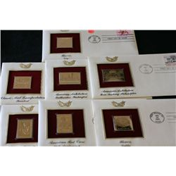 22K Gold Replica Stamp W/Postal Stamp; Various Dates, Events & People, Lot of 7