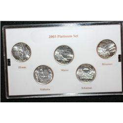 2003-P US Mint State Quarter Set; BU, Layered in Platinum