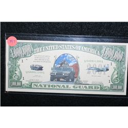 2002 United States of America $1,000,000 National Guard Colorized FAKE Bill