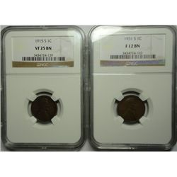 1931S  Lincoln penny  NGC12BN