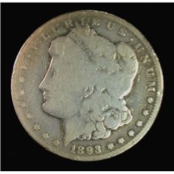 1893-CC MORGAN SILVER DOLLAR, G/VG ORIGINAL