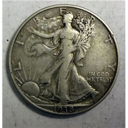 1938-D WALKING LIBERTY HALF DOLLAR XF