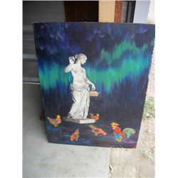 Painting- Greek statue with roosters .