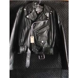 Dallas Premium Leather Jacket, Black, Size 8, Made in USA