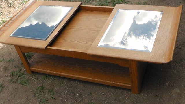Image 2 Oak And Gl Coffee Table Sliding Top W Storage