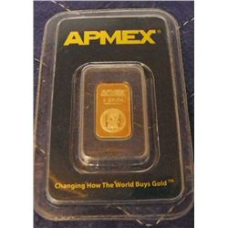 APMEX 1 Gram .9999au Solid Gold Bar .
