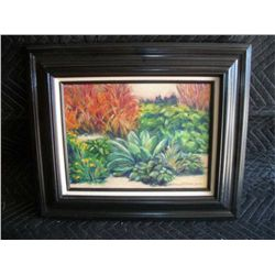 Framed Original Oil Painting  Fall Garden  2001, S. Fordyce, 9  x 12