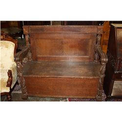CARVED OAK HALL BENCH  LIFT SEAT