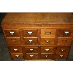 OAK 12 DRAWER CATALOG CABINET BY LIBRARY BUREAU MAKERS