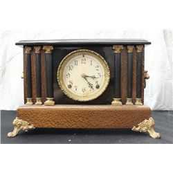 """EXCELLENT MANTLE CLOCK - 11"""" TALL - 15"""" WIDE"""