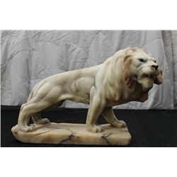 """SOLID MARBLE LION W/ GLASS EYES - 11"""" LONG - 10"""" HIGH"""