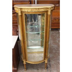 "FRENCH STYLE GOLD GUILT CURIO - 54"" HIGH - 24"" WIDE - 13"" DEEP"