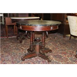 GREAT WALNUT MARBLE TOP STAND WITH BLACK MARBLE 33""