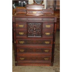 TALL AND ORNATE WALNUT LOCK SIDE WITH GALLERY AND SMALL DRAWER TOP