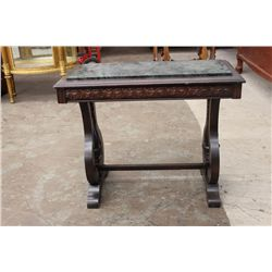 MAHOGANY STAND WITH INLAY MARBLE