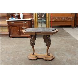 INSET MARBLE TOP WITH FULL STANDING WINGED PHOENIX SIGNED