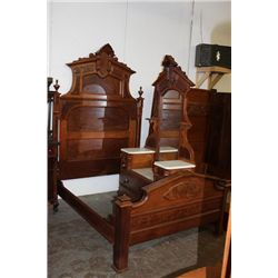 "GREAT VICTORIAN MARBLE TOP BEDROOM SET BED 94"" TALL"