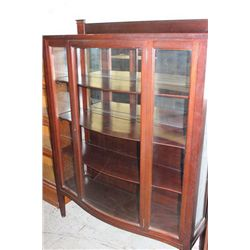3 SHELF MAHOGANY BOWED FRONT BOOKCASE