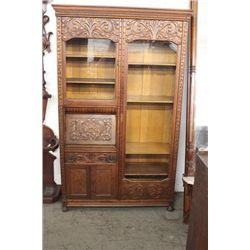 HEAVELY CARVED OAK SIDE BY SIDE IN ORIGINAL EXCELLENT CONDITION