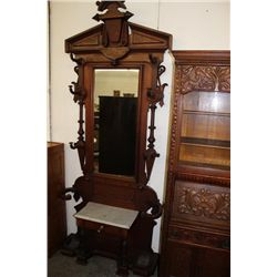"""VICTORIAN WALNT PARLOR MIRROR AND UMBRELLA RACK WITH MARBLE AND DRAWER 98"""" TALL"""