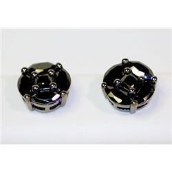 Lady's Antique Style Sterling Silver Round Shape Black Diamond Earrings