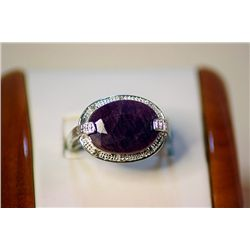 Lady's Fancy Silver Pigeon Blood Ruby Ring