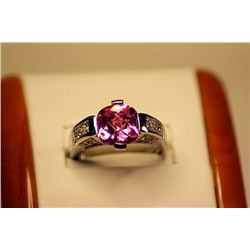 Unisex Fancy Design 14kt White Gold Pink Sapphire & Diamond Ring