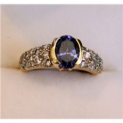 FANCY LADIES TANZANITE AND DIAMOND RING