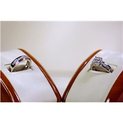 Lady's Beautiful Sterling Silver Graduated Garnet Wedding Set